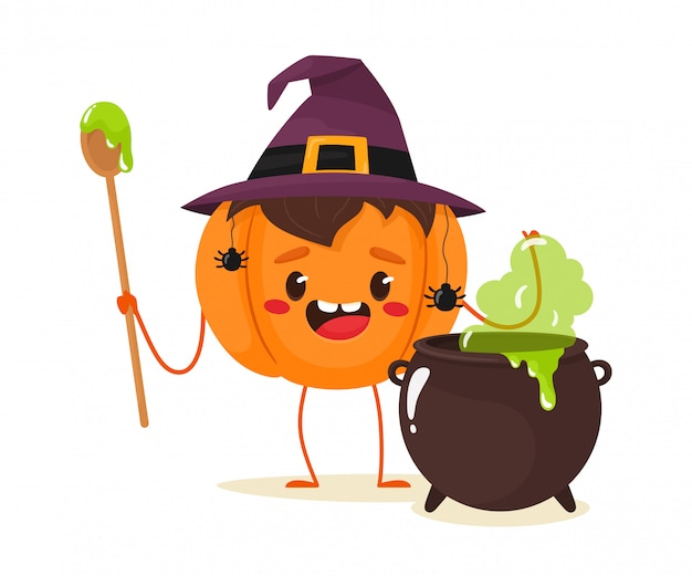 Joyful pumpkin brews a potion in the witch's cauldron. happy halloween. illustration in flat cartoon style.