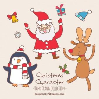 他のクリスマスの文字とジョイフルサンタクロース