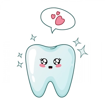 Joyful shining kawaii tooth with speech bubble