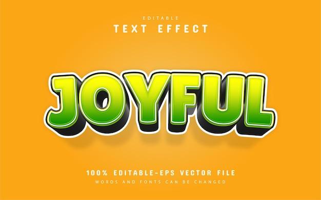 Радостный текст, редактируемый текстовый эффект мультяшном стиле