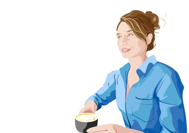 Joyful woman in blue shirt enjoying a cup of coffee