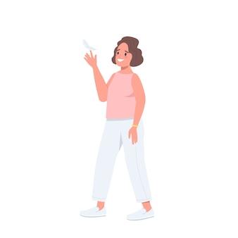Joyful woman flat color detailed character
