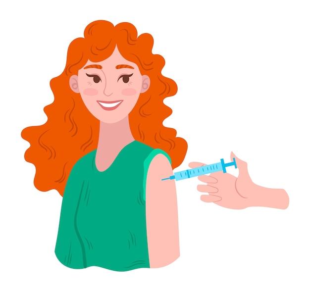 Joyful woman gets vaccine shots, flu prevention, infection protection.