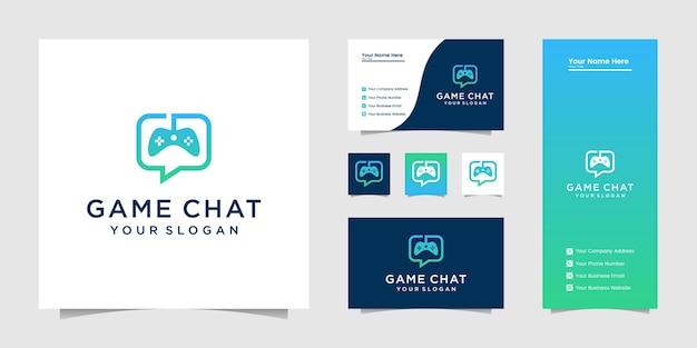 조이스틱 채팅 기호 게임 로고 및 명함