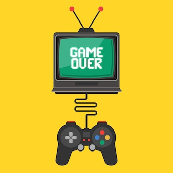 Joystick control in a video game on an old tv. inscription game over on the screen. flat vector illustration