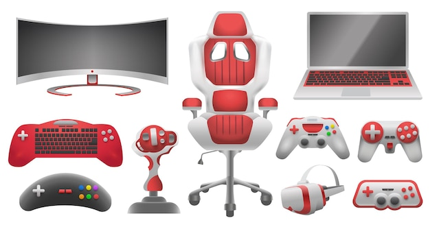 Joystick controllers, gadget and accessory for video game. virtual reality glasses, monitor, laptop, gaming chair and controller vector set. illustration of video gamepad, gaming joystick