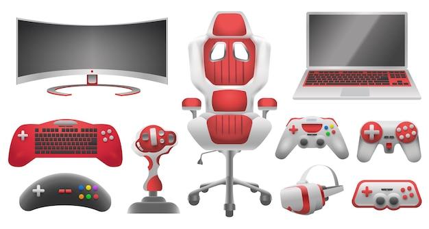 비디오 게임용 조이스틱 컨트롤러, 가제트 및 액세서리. 가상 현실 안경, 모니터, 노트북, 게임용 의자 및 컨트롤러 벡터 세트. 비디오 게임 패드, 게임 조이스틱의 그림