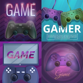 Joystick game illustration set on cartoon style