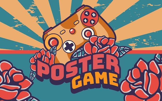 조이스틱 게임 패드 포스터 복고풍 빈티지 그림