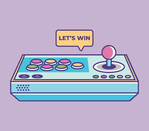 Joystick gamepad vector illustration retro video game controller symbol