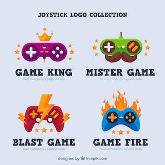 Joystick logo collection with flat design