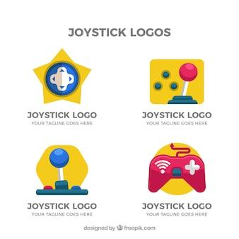 평면 디자인의 조이스틱 로고 컬렉션