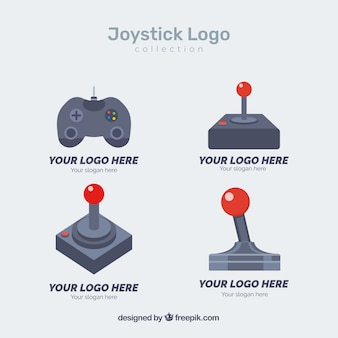 Joystick logo collection with flat design