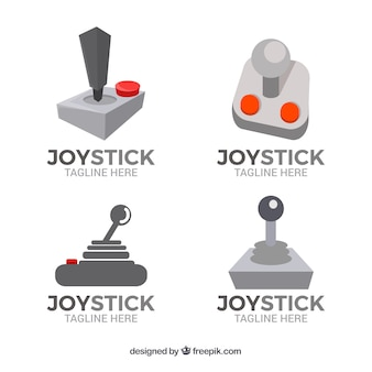 Joystick logos collection in flat style