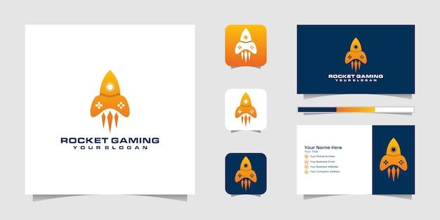 ジョイスティックロケットロゴの組み合わせゲームパッドと名刺