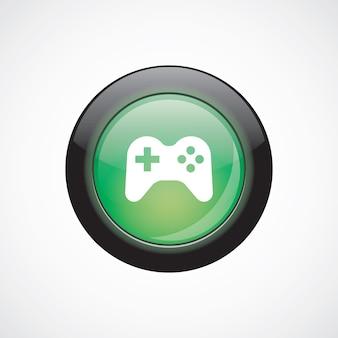 Джойстик знак значок зеленая блестящая кнопка. кнопка веб-сайта пользовательского интерфейса