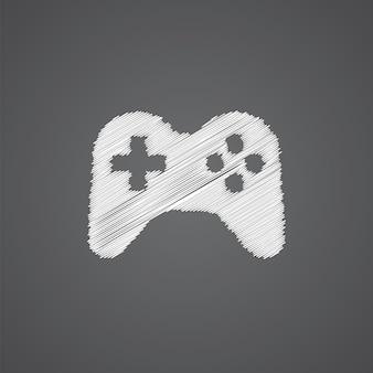 Значок каракули логотипа эскиза джойстика, изолированные на темном фоне