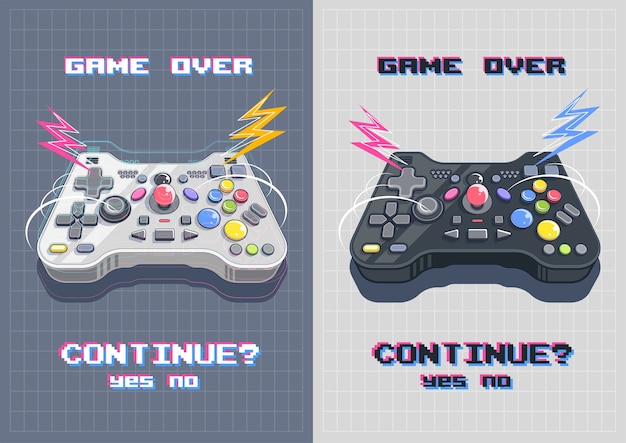 Joystick with many buttons, gamepad art illustration. modern poster for print and web.
