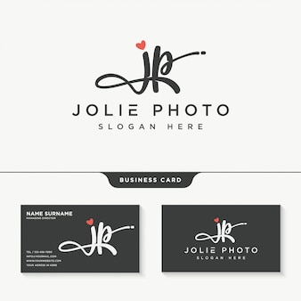 Начальный шаблон дизайна логотипа jp signature