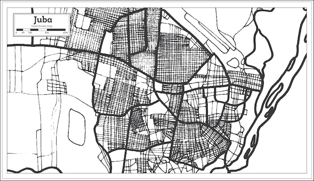 Juba south sudan city map in retro style. outline map. vector illustration.