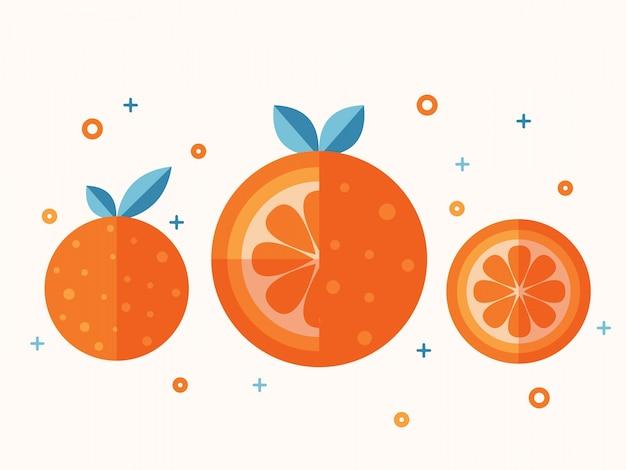 Jucy orange fruit flat vector set.