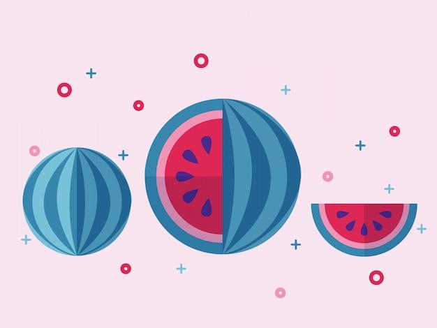 Jucy watermelon fruit flat vector set.