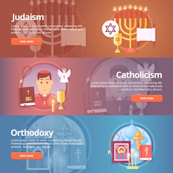 Judaism. catholicism. orthodoxy. christianic religions. religion and confessions banners set.   concept.