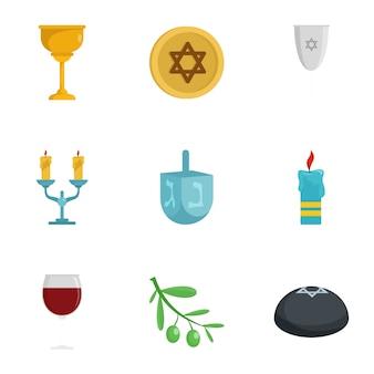 ユダヤ教のアイコンを設定します。フラット9セットのベクトル図アイコン