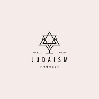 ユダヤ教のポッドキャストロゴヒップスターレトロヴィンテージアイコンユダヤ人のブログビデオビデオブログチャンネル Premiumベクター