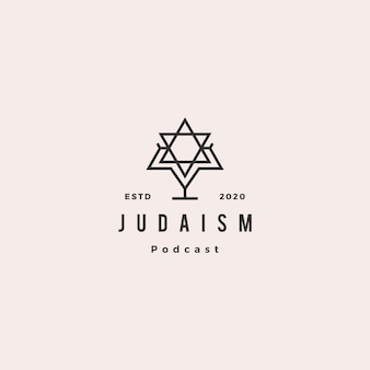 Judaism podcast logo hipster retro vintage icon for jews blog video vlog channel
