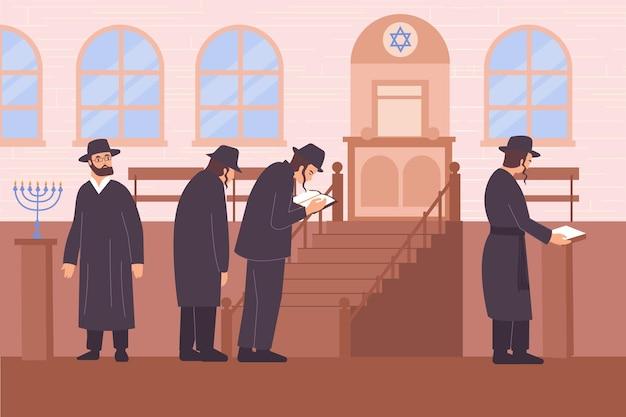 Composizione piatta nella religione dell'ebraismo con vista della sinagoga con stella di giuda e personaggi dell'illustrazione dei rabbini