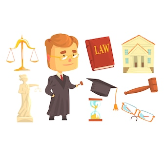 Судья и атрибуты судебной деятельности, установленные для дизайна этикетки.