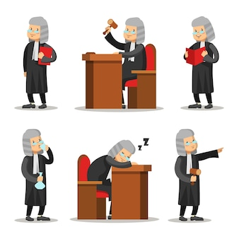 Judge cartoon character set. law and justice.