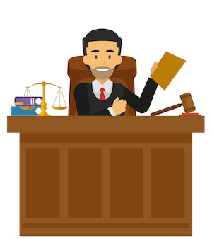 Judge character working at the court