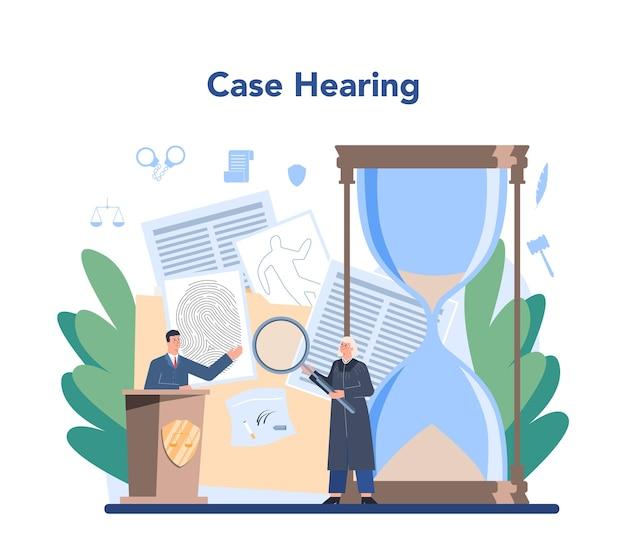 판사 개념. 법원 직원은 정의와 법을 대변합니다.