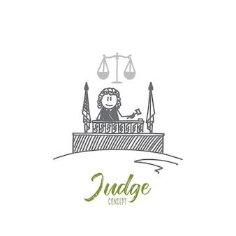 판사 개념. 손으로 그린 판사. 판사와 천칭 자리의 망치 법률 고립 된 벡터 일러스트 레이 션의 상징.