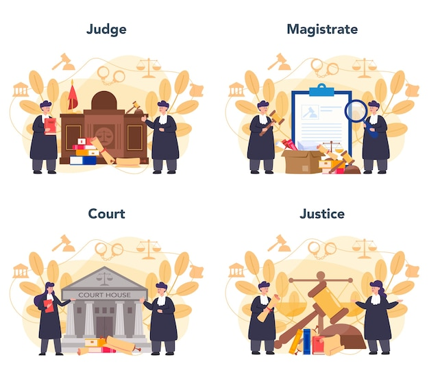 Judge concept set. court worker stand for justice and law. judge in traditional black robe. judgement and punishment idea.