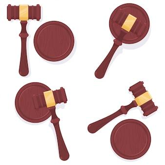 Judge gavel  cartoon set isolated on white background.
