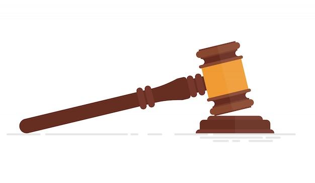 Иллюстрация молоток судьи на белом фоне