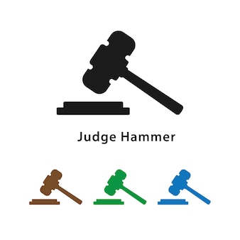 Judge hammer icon with different color set.