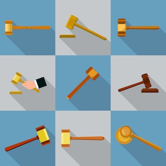 Judge hammer icons set. flat illustration of 9 judge hammer icons for web