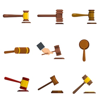 Judge hammer icons set vector isolated