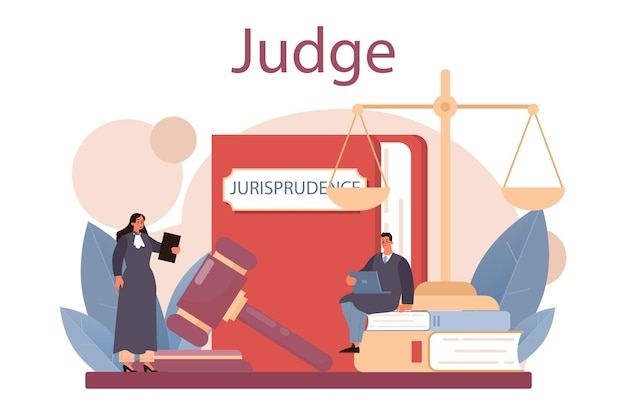 事件を聞き、フラットなベクトル図を判決する伝統的な黒いローブの裁判官
