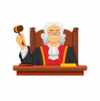 白い背景で隔離の漫画イラストのハンマーのコンセプトで机に座っている裁判官の法律のキャラクター
