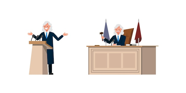 Judge man character  . presentation in various action.