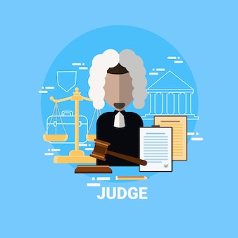 Judge man icon justice and law worker avatar