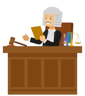 Judge read the law book at the court