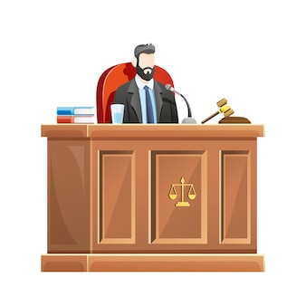 Judge sitting behind the desk court in courthouse