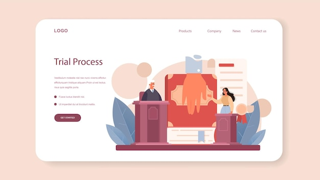Judge web banner or landing page. court worker stand for justice and law. judge in traditional black robe hearing a case and sentencing. judgement and punishment idea. flat vector illustration