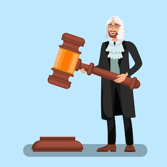 Judge in wig holding big gavel